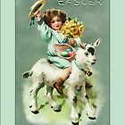Easter Greetings-Child Riding Lamb by Yesteryears
