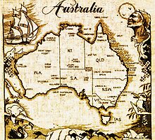 Vintage Australia Map by Bill Cannon
