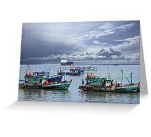 Vietnamese Fishing Boats Greeting Card