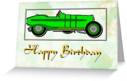 Aston Martin 5GP - Happy Birthday Card by Dennis Melling