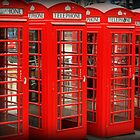 Four Red Telephone Boxes by Ed Sweetman