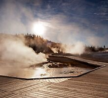 Sunrise Over Iconic Yellowstone Boardwalk by Alex Preiss