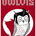 Owlvis Illustration On a Red Background  by TsipiLevin