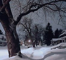 Midnight Snow On High Street by Gene Walls