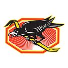 Crow Perching on Crowbar Retro by retrovectors
