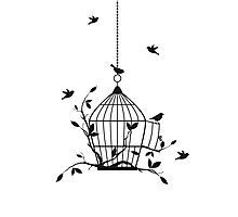 Free birds with open birdcage Photographic Print