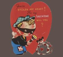 cute robber stolen my heart be my valentine tee  by Tia Knight
