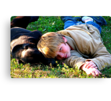 dog and child Canvas Print