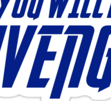 YOU WILL BE AVENGED! Sticker