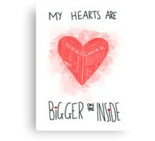 My Hearts are Bigger on the Inside Red Canvas Print