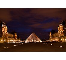Musee du Louvre at night Photographic Print
