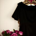 ...pink roses.......black dress........... by Jane Anastasia Studio