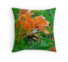 Tiger Swallowtail Butterfly and Turk's Cap Lily Wildflower Throw Pillow