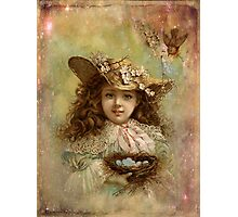 Girl with blue eggs Photographic Print