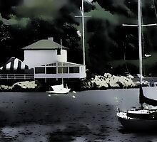 Lime Rock Light House RI by Val Dunn