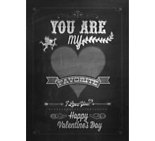 Happy Valentine's Day Hand Lettering - Typographical Background On Blackboard Photographic Print