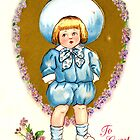 Little Boy in Blue Vintage Valentine Card by LouiseK