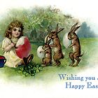 Little Girl with Bunnies Vintage Easter Card by LouiseK