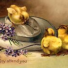 Little Chickens Vintage Easter Card by LouiseK