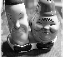 Laurel and Hardy Cruet Set  by AndyLanhamArt