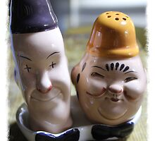 Laurel and Hardy salt and pepper set by AndyLanhamArt
