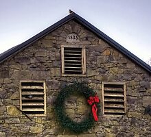 1835 Stone Barn At Christmas by Gene Walls