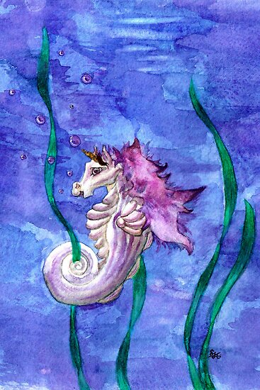 Unicorn Seahorse Underwater Fantasy by Stephanie Jayne Whitcomb