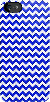 Bright Blue and White Chevron by pjwuebker