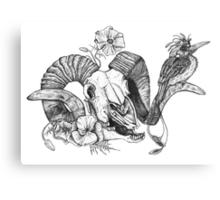 The Ram skull and bird Canvas Print