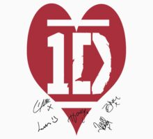 One Direction Heart Logo Signed T-Shirt by kmercury