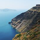 Steep Coast Line in Santorini Bay by vivendulies
