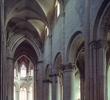 Nave St Gervais Falaise left C11 right Gothic 198402170055  by Fred Mitchell