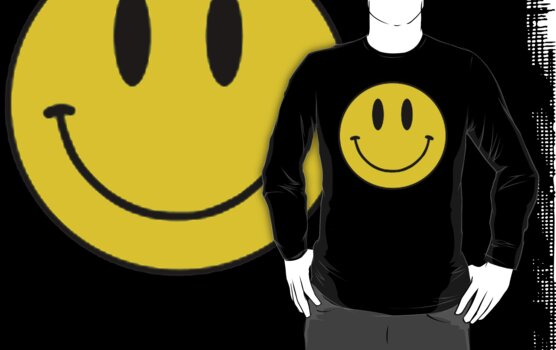Vintage 90's Grunge Yellow Smiley ACID Rave Face by wakpowwallop