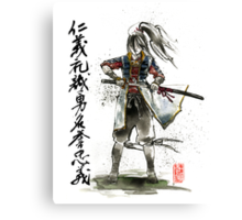 Female Samurai with Japanese Calligraphy 7 Virtues Canvas Print