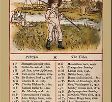 Greetings-Kate Greenaway  February Almanac Page by Yesteryears