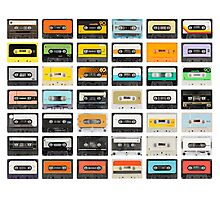 awesome old cassette collection Photographic Print