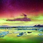 Aurora Borealis over Glacier Lagoon - Limited Edition Fine Art Photograph by Jarrod Castaing