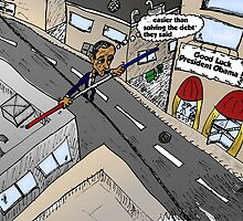 Obama on a wire cartoon by Binary-Options