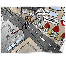 Obama on a wire cartoon Poster
