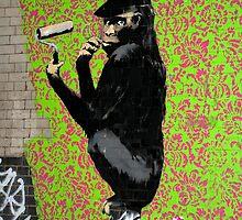 Banksy Chimp by Respire