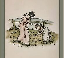 Greetings-Kate Greenaway-Mother/Daughter Picking Flowers by Yesteryears