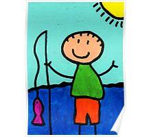 Happi Arte 2 - Boy Fish Art Poster
