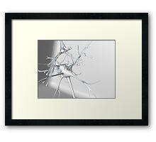 White and silver metallic 3d Neuron Synapse on White Framed Print