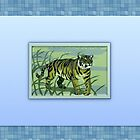 Blue framed tiger with mosiac art by kasseggs
