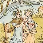 Vintage Three Girls under Umbrella iPhone Case by Yesteryears