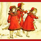 Greetings-Kate Greenaway-Three Girls with Skates by Yesteryears