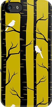 Birds and Trees in Yellow and Black by Ivaleksa