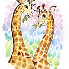 Giraffes love by Redilion