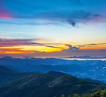 Majestic mountain landscape at sunset in Hong Kong by kawing921