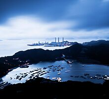 Sunset at power plant in Hong Kong by kawing921